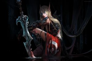 sword blood blood elf chenbo blood elves video game warriors fantasy girl world of warcraft fantasy art blue eyes pc gaming