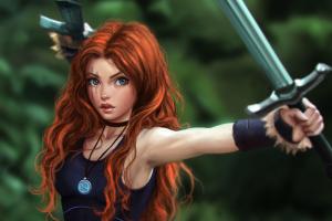 sword celtic fantasy art redhead warrior original characters
