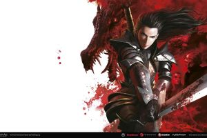 sword dragon age rpg armored dragon video games creature fantasy girl dark hair