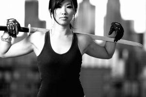 sword monochrome model asian women
