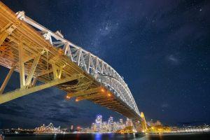 sydney stars city sydney harbour bridge night sydney harbour bridge