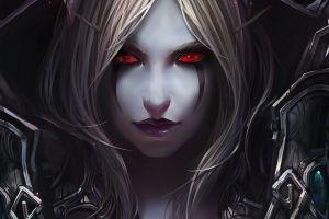 sylvanas windrunner world of warcraft video games red eyes fantasy art fantasy girl