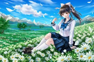 takane manaka clouds flowers ponytail love plus school uniform