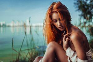 tanned closed eyes open shirt long hair women georgy chernyadyev bare shoulders redhead