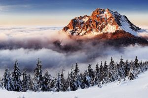 tatra mountains clouds snowy mountain mountains landscape