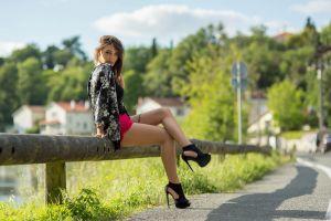 tattoo sitting model high heels women women outdoors road