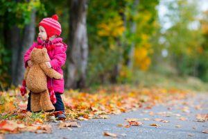 teddy bears children outdoors