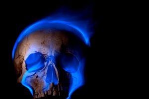 teeth fire skull digital art blue flames spooky black background death burning gothic