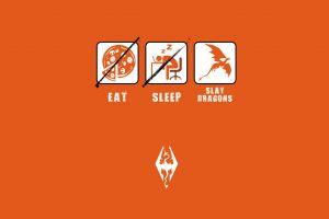 the elder scrolls v: skyrim minimalism humor video games orange background artwork