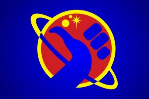 the hitchhiker's guide to the galaxy blue background artwork simple background