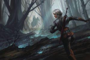 the witcher 3: wild hunt video games cirilla fiona elen riannon fantasy girl concept art the witcher artwork ciri sword white hair women