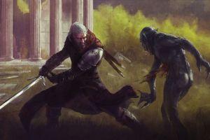 the witcher fantasy art the witcher 3: wild hunt artwork sword geralt of rivia video games
