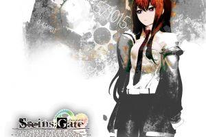 tie makise kurisu redhead anime steins;gate anime girls