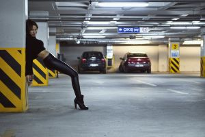 tight clothing women model parking lot high heels legs black clothes leather leggings