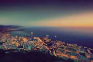 tilt shift urban city water coast cityscape photography monaco sea