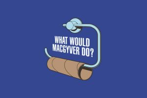 toilet paper humor simple background blue background macgyver