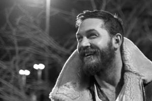 tom hardy actor smiling men monochrome beards