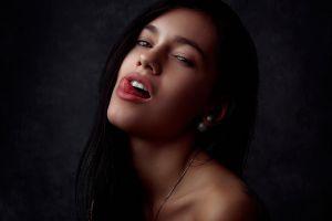 tongues face brunette women dark hair