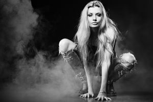 torn jeans smoke monochrome women model