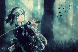 touhou konpaku youmu forest anime girls cyan artwork