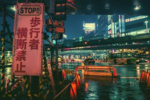 town city japan night