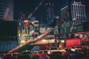 town japan night city highway cranes (machine)
