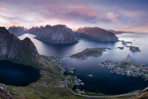 town sea road nature summer panoramas island norway landscape clouds