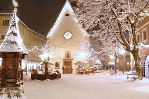 town square church city street light winter snow