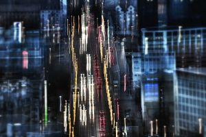 traffic city light trails street