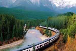 train canada river rocky mountains landscape nature