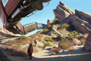 train flying children artwork desert
