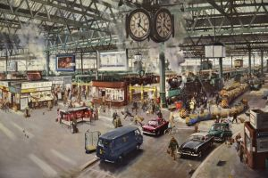 train station artwork city painting clocks urban