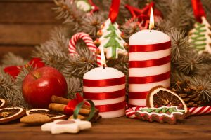 treats christmas apples candles