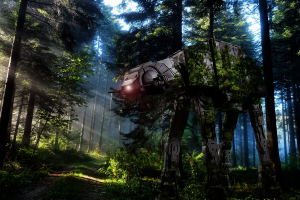 trees digital art imperial forces star wars endor at-at galactic empire