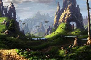 trees fantasy art grass