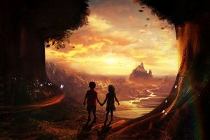trees glowing butterfly artwork fantasy art digital art river mountains castle far view holding hands children pixelated landscape science fiction