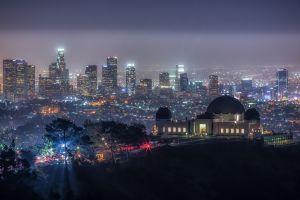 trees lights usa hills night california skyscraper cityscape los angeles city
