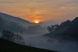 trees mountains nature mist sunset clouds england landscape