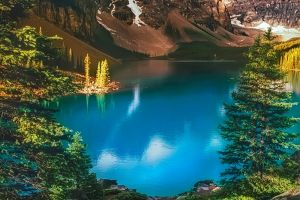 trees summer canada turquoise landscape banff national park nature mountains moraine lake lake forest