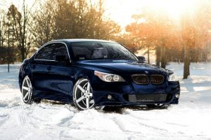 trees sunset snow bmw e60 winter car bmw bmw 5 series