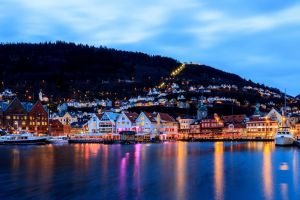 trees yachts boat reflection nature town long exposure sea hills norway forest clouds house evening lights