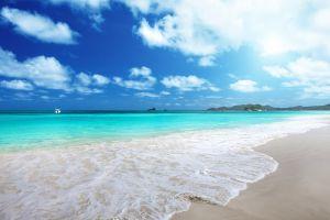 tropical beach landscape sea foam sea