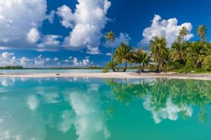 tropical landscape summer clouds french polynesia palm trees turquoise island sand beach nature white reflection sea