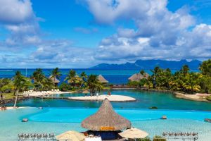 tropical nature sea landscape beach island clouds tahiti mountains palm trees resort french polynesia swimming pool summer