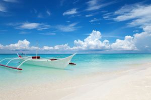 turquoise clouds landscape tropical blue summer sky white water nature boat sand thailand beach sea