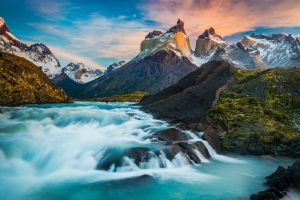 turquoise mountains waterfall long exposure horns river water snowy peak chile fall landscape torres del paine nature