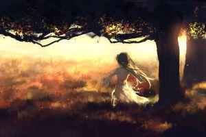 twintails anime girls vocaloid grass hatsune miku anime back trees long hair white dress