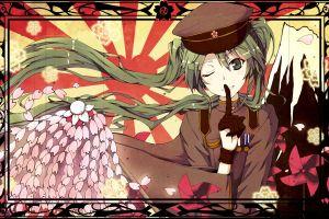 twintails cherry blossom vocaloid anime girls hatsune miku