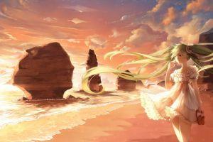 twintails clouds hatsune miku long hair white dress anime beach vocaloid wind anime girls