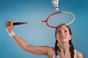 twintails looking up sports brunette pigtails women badminton